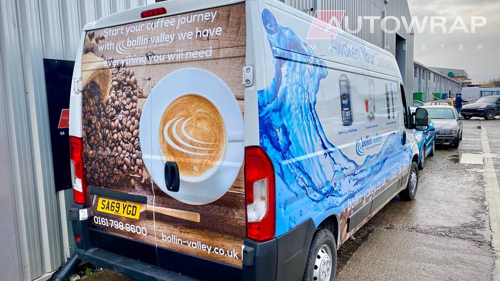 A partial printed wrap with graphics for Bollin Valley