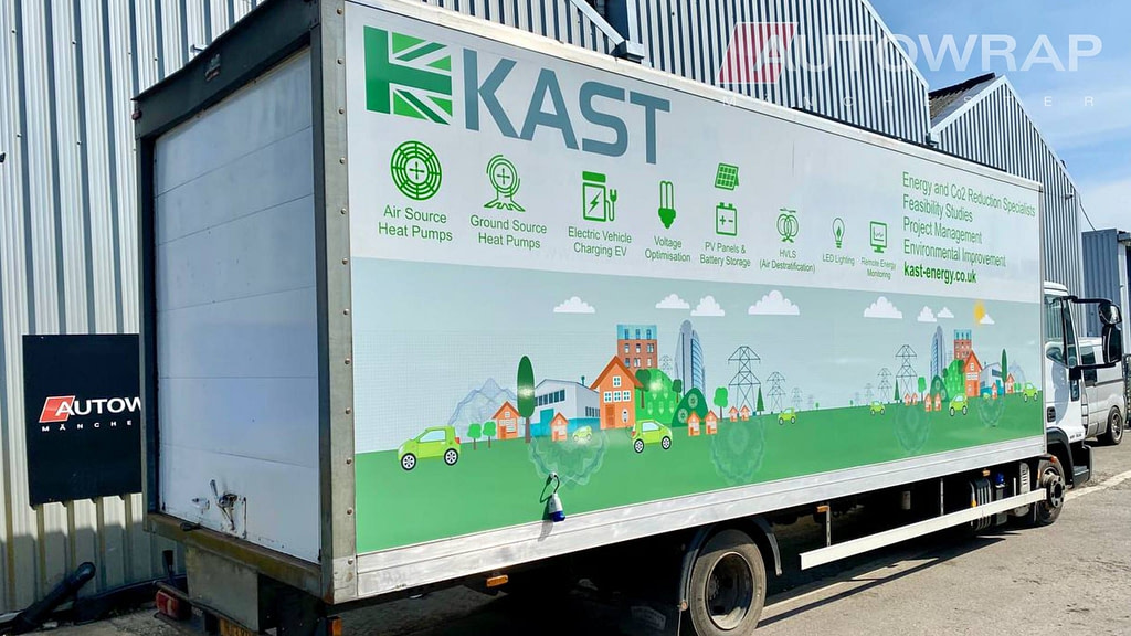 a partial wrap and graphics on a lorry for Kast