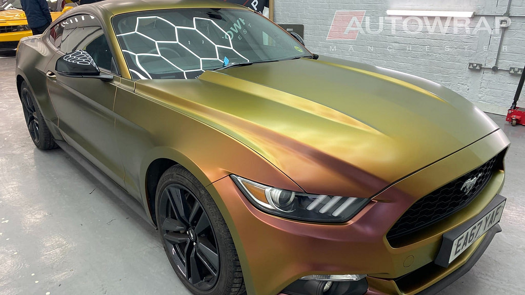 A Mustang wrapped in a 'colour flow' wrap.