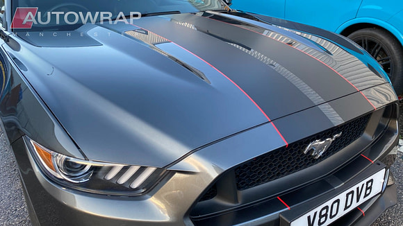 A stripe bodykit on a Mustang. The stripes consist of two wide dark grey stripes, flanked by red pin stripes.