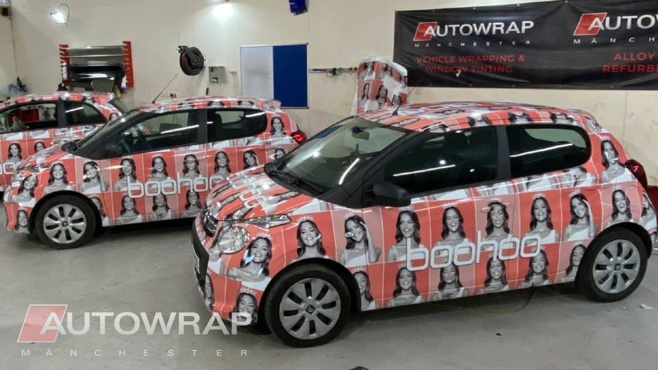 Custom printed wraps for a fleet of BooHoo cars used for advertising